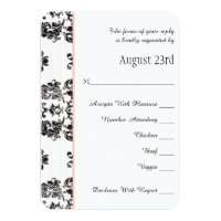 Pink Parisian Eiffel Tower RSVP Wedding Card