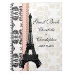 Pink Parisian Eiffel Tower Wedding Guest Book Spiral Note Book