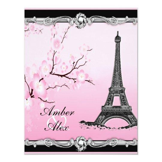 Eiffel Tower Wedding Invitations: Pink Parisian Eiffel Tower Wedding Invitations