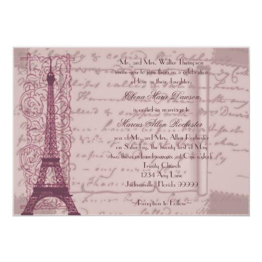 Pink Parisian Wedding Invitation Zazzle Com