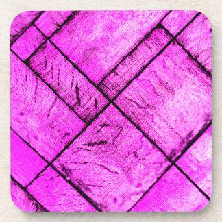 Pink Parquet Floor Drink Coaster