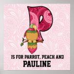 "Pink Parrot Monogram ""P"" Baby Room Poster"