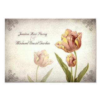 "Pink Parrot Tulip Response Card 3.5"" X 5"" Invitation Card"