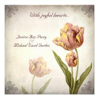 Pink Parrot Tulip Wedding Invitation