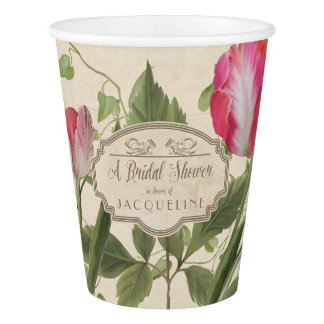 Pink Parrot Tulips Spring Floral Bridal Shower Paper Cup