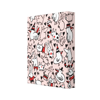 Pink Party Animals Canvas Print