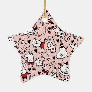 Pink Party Animals Ornament (Star)