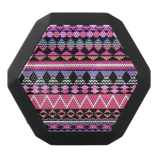 Pink Party Aztec Pattern Black Bluetooth Speaker