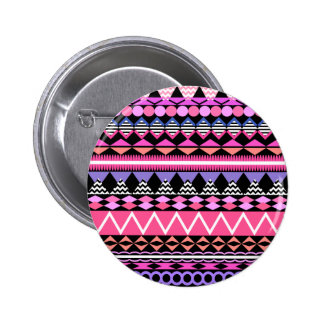 Pink Party Aztec Pattern Button