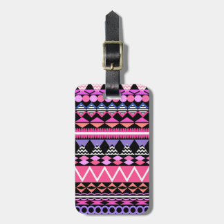 Pink Party Aztec Pattern Luggage Tag