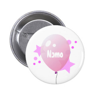 Pink Party Balloon Name Button