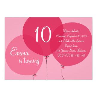 Pink Party Balloons Kids Birthday Invitation