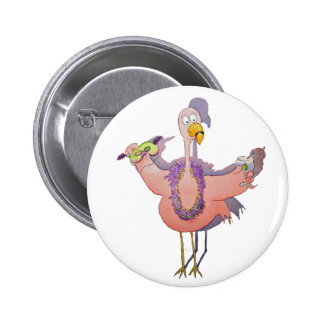 Pink Party Bird Flamingo Drink Beads Boa Pinback Button
