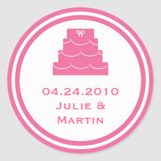 Pink party cake wedding favor tag seal label stickers