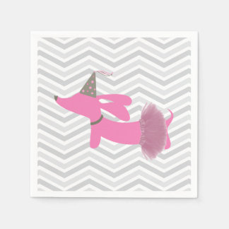 Pink Party Dachshund Napkins