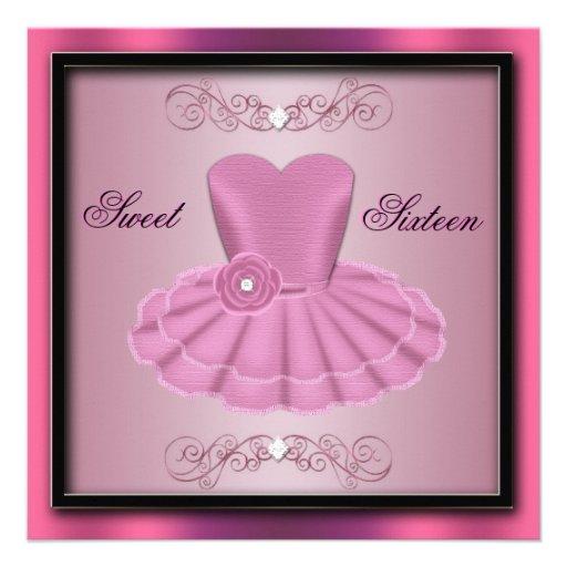 Pink Party Dress Birthday Invite