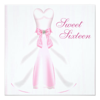 Pink Party Dress Pink Sweet 16 Birthday Party Card