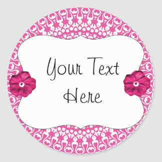 Pink Party Girlie Cupcake Toppers/Labels/Stickers Classic Round Sticker