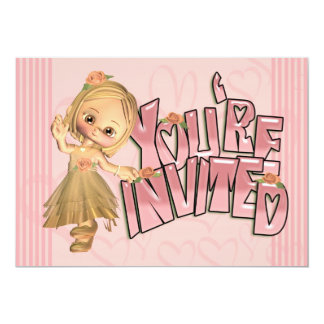 Pink Party Invitations With Cute Little Girl