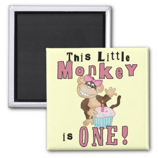 Pink Party  Monkey 1st Birthday Tshirts and Gifts Magnet