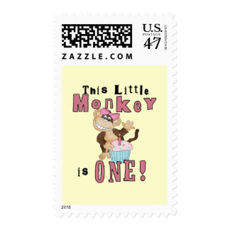 Pink Party  Monkey 1st Birthday Tshirts and Gifts Postage