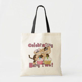 Pink Party Monkey 2nd Birthday Tshirts and Gifts Tote Bag
