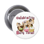 Pink Party Monkey 3rd Birthday Tshirts and Gifts Pinback Buttons