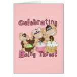 Pink Party Monkey 3rd Birthday Tshirts and Gifts Cards
