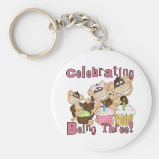 Pink Party Monkey 3rd Birthday Tshirts and Gifts Keychain