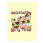 Pink Party Monkey 3rd Birthday Tshirts and Gifts Postcard