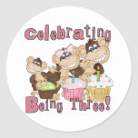 Pink Party Monkey 3rd Birthday Tshirts and Gifts Stickers