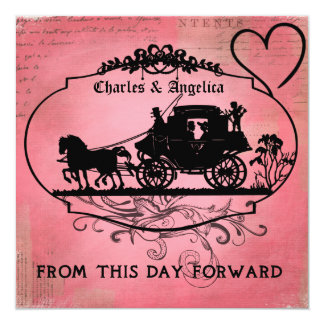 """Pink Passion From This Day Forward  Wedding Invite 5.25"""" Square Invitation Card"""
