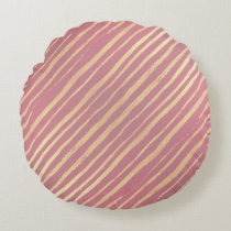 Pink Passion Golden Stripes Round Throw Pillow
