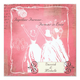 Pink Passion Toss the Bouquet Wedding Invite