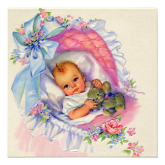 Pink Pastel Baby Girl Shower Card