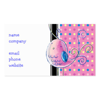 Pink Pastel Bird - Polk-a-dots Double-Sided Standard Business Cards (Pack Of 100)