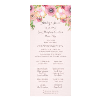 Pink Pastel Blush Floral Wedding Program