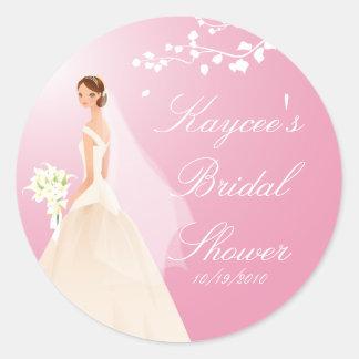 Pink Pastel  Bride Bridal Shower Sticker