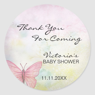 Pink Pastel Butterfly Thank You Baby Shower Classic Round Sticker