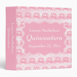 Pink Pastel Carriages Quinceanera Binder