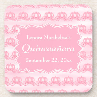 Pink Pastel Carriages Quinceanera Beverage Coaster