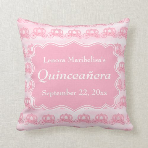 Pink Pastel Carriages Quinceanera Throw Pillow