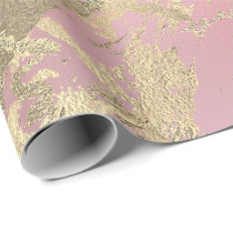 Pink Pastel Champaigne Gold Marble Metallic Stroke Wrapping Paper