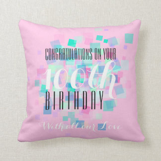 Pink Pastel Colors 100th Birthday Custom Pillow