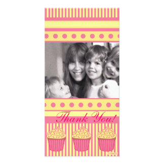 Pink pastel Cupcakes Customized Photo Card