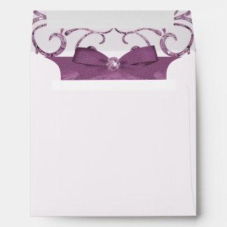 Pink Pastel & Diamond Swirls Bow & Ribbon Wedding Envelope