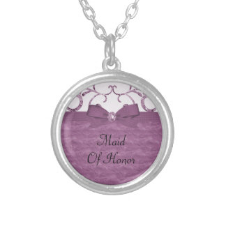 Pink Pastel & Diamond Swirls Bow & Ribbon Wedding Silver Plated Necklace