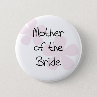Pink Pastel Flowers Mother of Bride Button