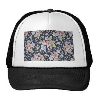 Pink Pastel flowers on black flowers Mesh Hats