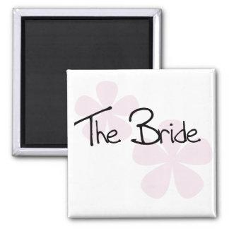 Pink Pastel Flowers The Bride Fridge Magnet